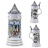 0.75 Liter Beer Stein with Lid Germany Ceramic Mug Bierkrurg Cup Tankard Horn Drinking Glass Coffee for Men Holiday Ornaments Cup and Kit at Christams Topper Cap Schwanstein Porcelain