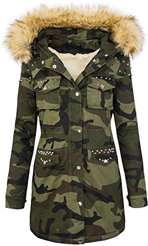 Rock Creek Damen Winter Parka Jacke Army-Look Damenjacke Kunstfell Kapuze Mit Nieten D-231 Braun XL