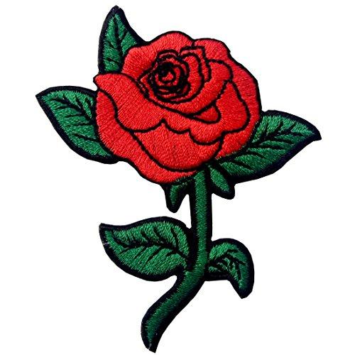ZEGIN Rote Rose Gestickte Badge Eisen Auf Nähen Auf Patch