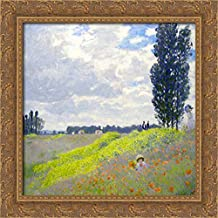 Walk in The Meadows at Argenteuil 20x20 Gold Ornate Wood Framed Canvas Art by Claude Monet