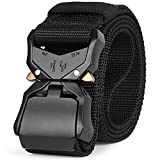 Mens Tactical Belt SANSTHS Military Nylon Web Heavy Duty Buckle Riggers Tactical Belt for Women, Black S