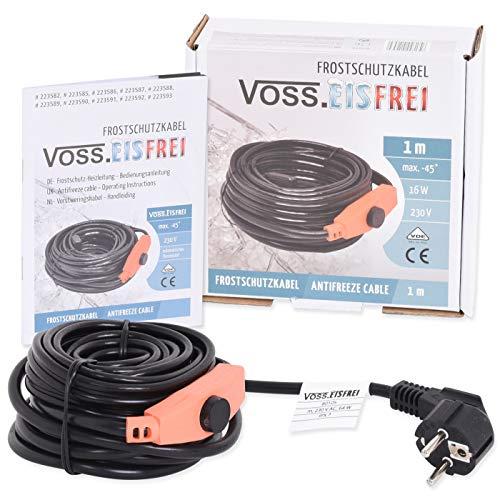 1m Frostschutz Heizkabel mit Knopf-Thermostat VOSS.eisfrei, 230V, Heizleitung Zum Schutz von Wasserleitungen und Weidetränken