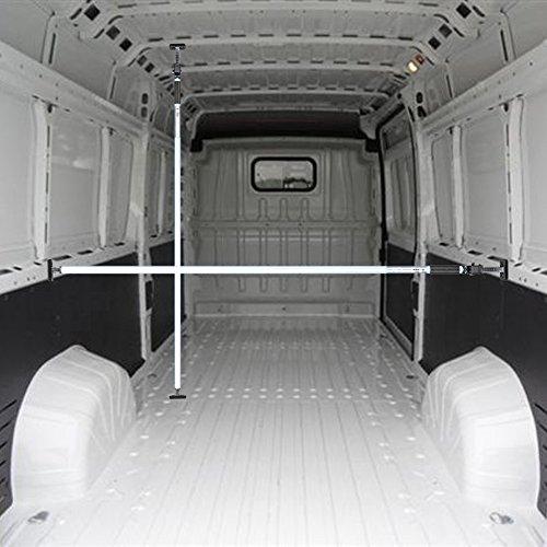 ALLEGRA Ladungssicherung und Transportsicherung für PKW LKW Anhänger und Transporter, Klemmstange Spannstange für die Tür, Ladesicherung für Auto Ausziehbar (1,00m - 1,75m, Weiß)