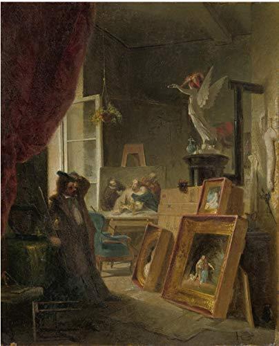 Carl Spitzweg Giclee Papel de Arte impresión Obras de Arte Pinturas Reproducción de Carteles(Der Historienmaler El Pintor de Historia) #XZZ