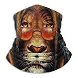 WH-CLA Calentador De Cuello Pasamontañas Fumando Rasta Music Lion con Auriculares Cuello Bufanda Impreso Bufanda Facial Hombre Mujer Sombreros Protección UV Bufanda para Caza Motocicleta