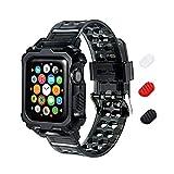KIMOKU コンパチブル Apple Watch バンド 38mm 40mm 42mm 44mm 一体型ベルト クリスタル TPU素材 コンパチブル Apple Watch ベルト 耐衝撃 保護ケース コンパチブル アップルウォッチ バンド iWatch Series 6/SE/5/4/3/2/1対応