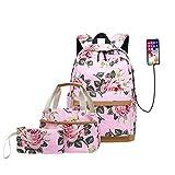 3 piezas/juego de mochila de flores de color rosa mochila escolar linda niña mochila escolar primaria niños bolsa de lápices set regalo de niña