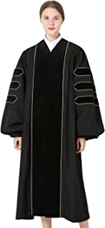 GraduationMall Deluxe Doctoral Graduation Gown for Faculty and Professor Phd Blue Velvet with Gold Piping