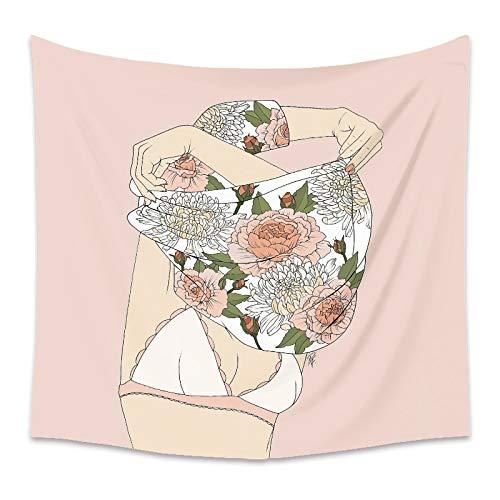 Tapiz floral de niña rosa para mujer, flor rosa, colgante de pared, tapiz bohemio, fondo, manta de tela, toalla de playa A14 130x150cm