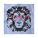 Ambesonne Animal Decorative Satin Napkins Set of 4, Grunge Lion Portrait with Hipster Glasses Nerd Humor Comic King Illustration, Square Printed Party & Dinner Napkin, 12' x 12', Blue Black Red