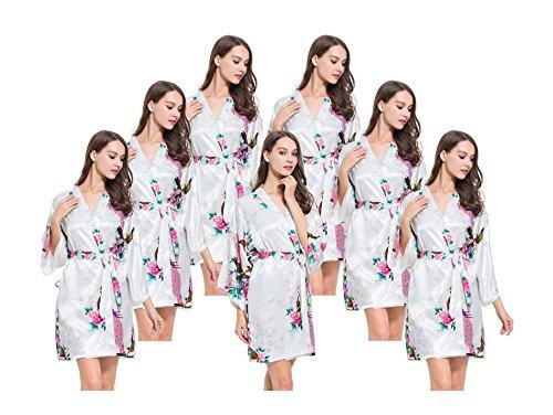 Fete Fabulous Lot de 7 robes de paon en satin pour enterrement de vie de jeune fille - Blanc - Medium