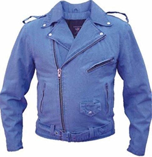 Allstate Leather Men's Basic Black Denim Motorcycle Jacket 14 oz M Blue