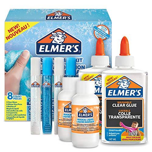 ELMER'S Kit per Slime Frosty, Colla Vinilica Trasparente, Penne con Colla Glitterata e Liquido Magico Attivatore di Slime, Confezione da 8