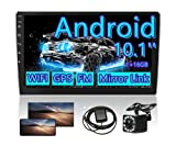 10.1 inch Android Double Din Car Stereo with Bluetooth Touch Screen Radio GPS WiFi FM Radio Receiver AUX Dual USB 2 din Dash Support Android/iOS Phone Link + Backup Camera