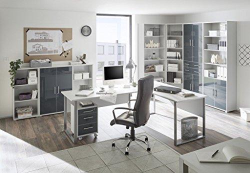 moebel-dich-auf Komplettes Arbeitszimmer Büro Set Komplettset Office LUX in lichtgrau Glas Graphit Lack 9-teilig