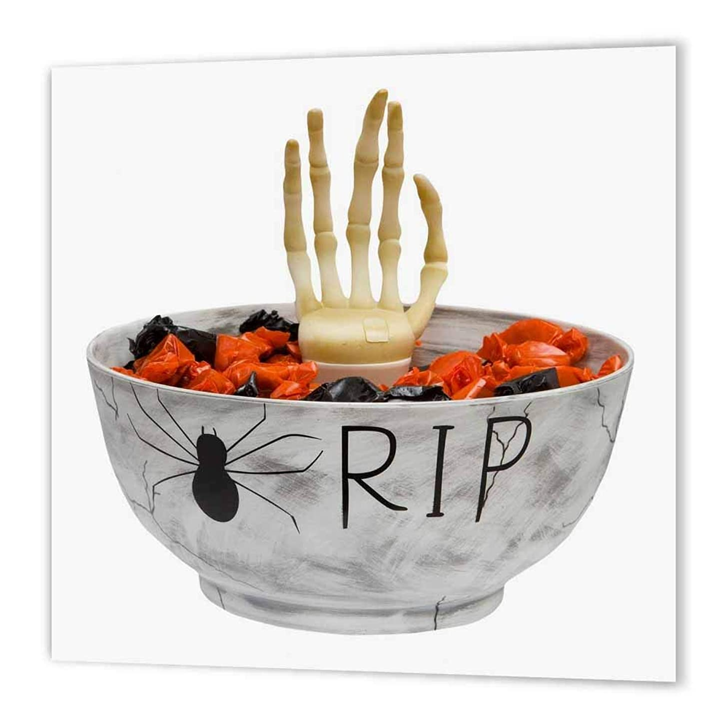 3dRose ht_131313_1 Halloween Rip Candy Bowl Iron on Heat Transfer for White Material, 8 by 8-Inch