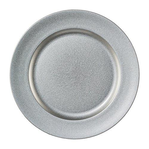 """Melamin TELLER rund \""""SHINING\"""". Dekoteller metallic 25cm, SILBER. Art.: 6017654-49"""