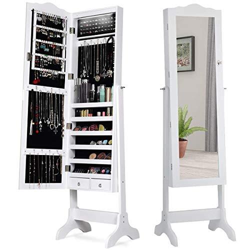 RELAX4LIFE Schmuckschrank mit 14 automatischen LEDs, abschließbares Schmuckregal mit Ganzkörperspiegel, stehender Spiegelschrank mit Ständer, Standspiegel mit 4 einstellbaren Neigungswinkel (Weiß)