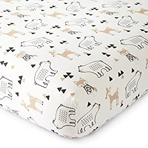 Levtex Baby – Bailey Crib Fitted Sheet – Fits Standard Crib and Toddler Mattress – Tossed Fox, Bear and Deer – Charcoal, Taupe, White – Nursery Accessories – 100% Cotton