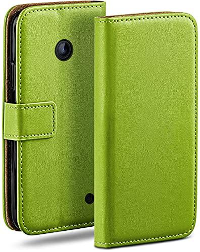 moex Klapphülle kompatibel mit Nokia Lumia 630/635 Hülle klappbar, Handyhülle mit Kartenfach, 360 Grad Flip Hülle, Vegan Leder Handytasche, Grün