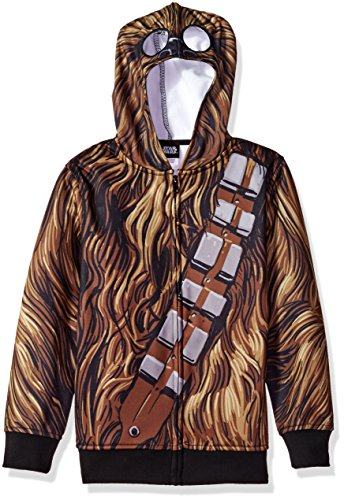 Star Wars Big Boys' Chewbacca Sublimated Fleece Zip Costume Hoodie, multi, Small-10