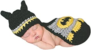 Newborn Baby Boy Crochet Bats Hat & Cape Set Costume Photogtaphy Prop