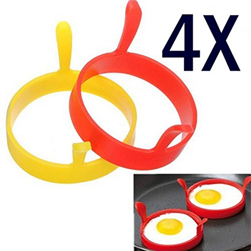 NLGToy Reusable Pancake Mold,Silicone Round Egg Rings Pancake Mold Ring Handles Nonstick Frying, Egg Shaper Pancake Maker with Handle, Egg Form for Frying Cooking (4Pcs)