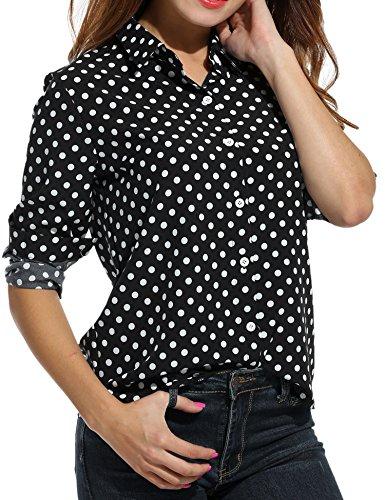 Beyove Damen Chiffon Bluse V-Ausschnitt Hemdbluse mit Polk Dots Langarm Casual Oberteile Button Down Hemd Lose für Casual und Business