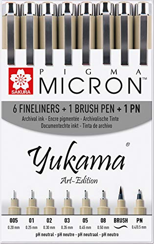 Yukama Sakura Pigma Art-Edition 8er-Set, 6 Pigma Micron Fineliner + 1 Pigma Brush Pinselstift + 1 Pigma PN Stift, Schwarz