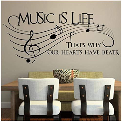KBIASD La música es la vida, por eso nuestros corazones tienen latidos, calcomanía de vinilo para pared, música, decoración de arte de pared musical, 58x25cm