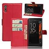 Tasche für Alcatel Sony Xperia XZS / Sony Xperia XZ Hülle , Ycloud PU Kunstleder Ledertasche Flip Cover Wallet Hülle Handyhülle mit Stand Function Credit Card Slots Bookstyle Purse Design rote
