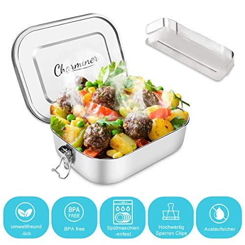 Charminer Brotdose aus Edelstahl,Bento Box Metall Dichte Brotdose Lunchbox für auslaufsicher 1200ML ml...
