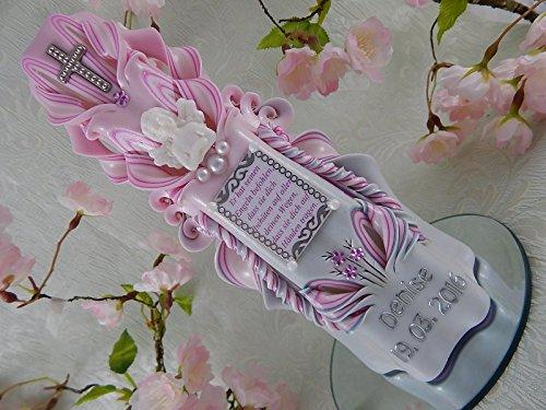Geschnitzte Taufkerze Kommunionkerze rosa für Mädchen mit Schutzengel und Taufspruch inkl. Name und Datum