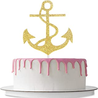 Nautical Themed Cake Topper Anchor Shaped Wedding Birthday Baby Shower Party Décor Supplies Double Sided Gold Glitter