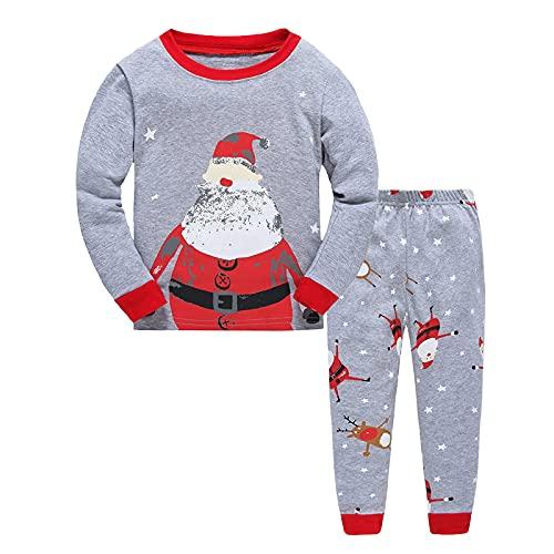 OFIMAN Conjunto de pijama unisex para niños pequeños y niñas, diseño de dinosaurios de Navidad, manga larga, pijama de dibujos animados, gris, 1-2 años