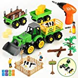 CUTE STONE Take Apart Toys Farm Truck Tractor with Electric Drill, Play Farm Toys Set with Farm Animal Action Figures, Bonus Storage Box and Farm Accessories,STEM Learning Toys for Kids Toddlers
