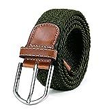 DonDon Cinturón trenzado extensible y elástico para hombres y mujeres de 100 cm a 130 cm de longitud aceitunado