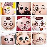 2 uds, Bonita expresión de Dibujos Animados, fotografías de Embarazo, Pintura del Vientre, Pegatina para Fotos, Pegatina para el Vientre del estómago Facial para Embarazadas, Apoyo para Fotos