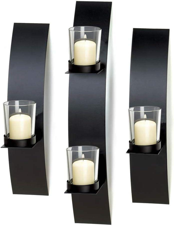 3 pc Black Metal Very popular Modern Art Deco Candle Hurricane Hold Albuquerque Mall Artisanal