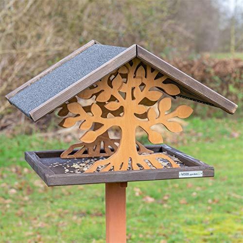 VOSS.garden Vogelhaus Montreal mit Baumoptik aus Holz, Holzhaus, Vogelfutterhaus, Vogelvilla, Vogelfutter, Vogelholzhaus, Holzschutzglasur Vogel, Futterhaus