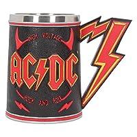 """valeur: """"licence officielle ACDC Tankard."""" « Entouré des mots \ » rock à haute tension et rouleau \ « assis entre une paire de cornes rouges diable, le logo de l'éclair ACDC est placé directement au centre. » « Sur le revers de Tankard, la silhouette..."""