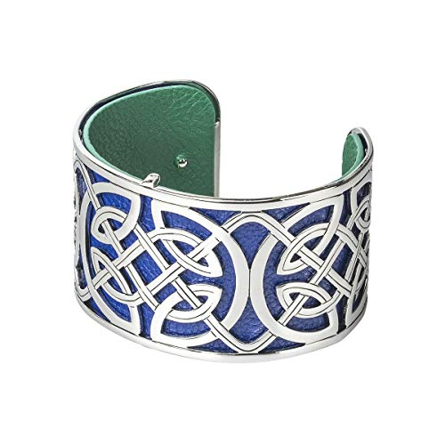 Irish Rose Gifts Rhodium & Leather Wide Celtic Bangle - Solvar Jewelry Made in Ireland