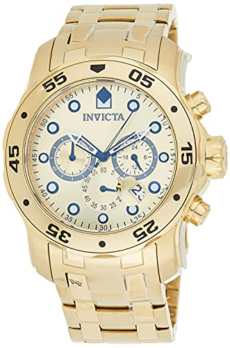 Invicta Relógio masculino Pro Diver Scuba 48 mm dourado de aço inoxidável cronógrafo de quartzo, dourado (modelo: 0074)