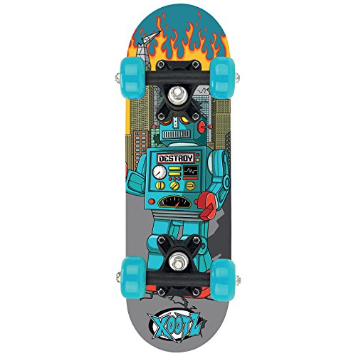 xootz Kinder Mini Skateboard – 43,2 cm, Blue Robot