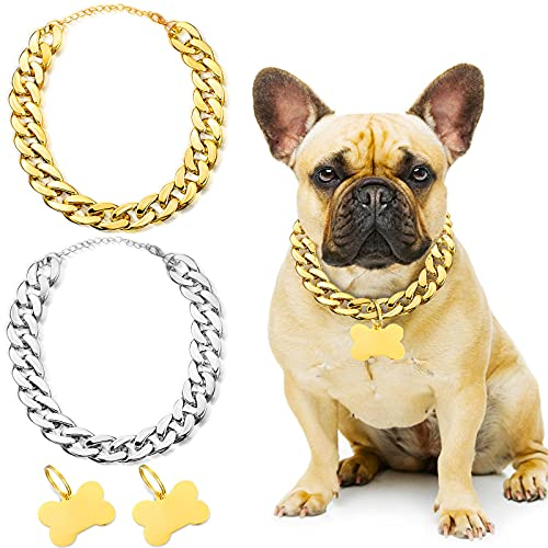 2 Pieces Golden Dog Chain Collars, Fashionable and Cool Plastic Cat and Dog Chain Pet Necklaces, Strong and Light, Metal Dog Tags, for Small and Medium-Sized Cat and Dog Accessories, 16-19 Inches