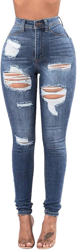 Skinny Jeans for Women,Women's Fashion High Waisted Hole Pocket Stretchy Slim Denim Pants Calf Length Jeans