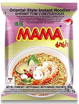 MAMA Noodles Shrimp Tom Yum Instant Noodles with Delicious Thai Flavors Hot & Spicy Noodles w/ Shrimp Tom Yum Soup Base No Trans Fat w/ Fewer Calories Than Deep Fried Noodles 30 Pack