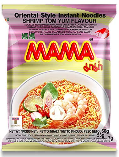 MAMA Noodles Shrimp Tom Yum Instant Shrimp Tom Yum Noodles with Delicious Thai Flavors, Hot And Spicy Noodles with Shrimp Tom Yum Soup Base, No Trans Fat with Fewer Calories Than Deep Fried Noodles (Shrimp Tom Yum Flavor, 30 Pack)