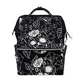 MIMUTI バックパック ゴシックブラックシームレスパターンローズシュガー 男女兼用 通学 通勤 旅行 スポーツ バッグ