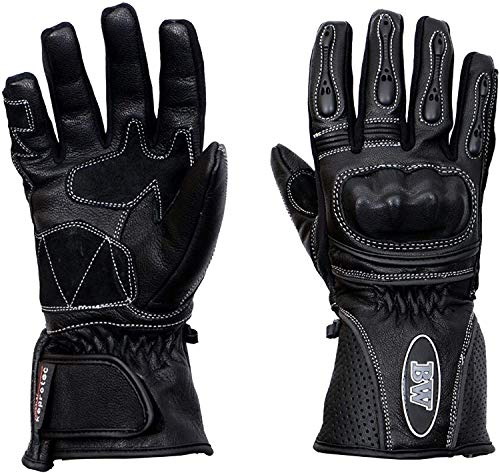 Leather Motorbike Gloves Mens Womens Protection Goatskin Motorcycle Full Finger Rider Glove All...
